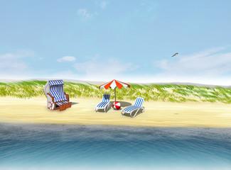 Sandstrand für Traumurlaub mit Sonnenschirm, Sonnenliegen und Strasndkorb
