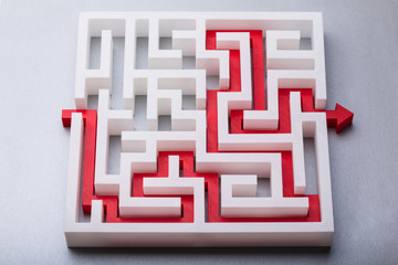 Red Arrow Showing Path Through Maze
