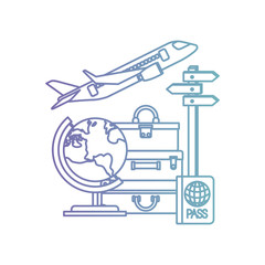 travel vacations set icons vector illustration design