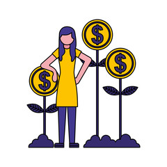 person planting money character