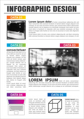 Newspaper with 5 data infographic template. Vector abstract element can be used for business workflow layout, presentations.