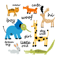 Vector set of children's drawings animals. Doodle style. Ideal for childs decoration. Slogan set