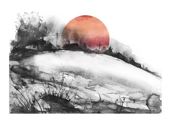 Countryside landscape. Illustration of watercolors and black mascara. Abstract black  splash of paint.  Silhouettes the village. Watercolor logo, postcard on a white background.Red sun, sunset.