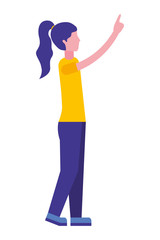young woman with hand up avatar character