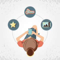 woman with smartphone social media icons vector illustration design