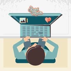 man with desktop social media icons vector illustration design