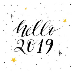 Hello New Year Vector Brush Phrase Lettering Calligraphy Sticker Gold