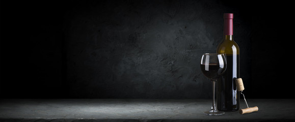 Autocollant pour porte Vin Red wine glasses and bottle on stone background. Top view with copy space
