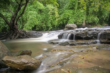 Small but beautiful waterfall /Small waterfalls can be found in all regions of Thailand.In the rainy season, you will find this kind of waterfall in Thailand.