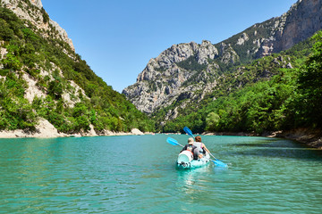 kayaks on St Croix Lake, Les Gorges du Verdon, Provence, France