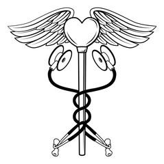 Heart Caduceus Stethoscope Medical Icon Concept