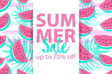 SUMMER SALE up to 70% OFF banner with seamless Watermelon Pattern isolated on hand drawn brush background.