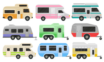 Flat vector set of classic camper vans and trailers. Recreational vehicles. Home of wheels. Comfort cars for family travel