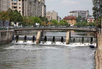 Dam on Dambovita river in Bucharest. Romania