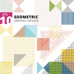 Abstract multicolor geometric pattern. Trendy geometric elements modern design.