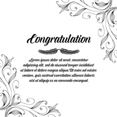 Congratulation card with flower frame art vector illustration