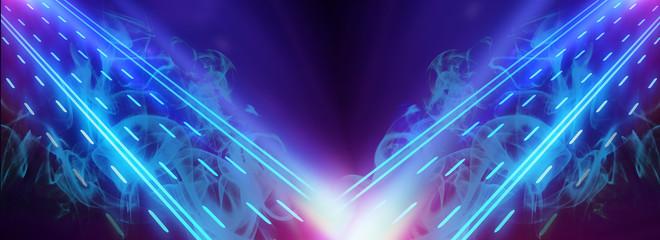 Multi-colored smoke on a dark background, neon light, laser beams