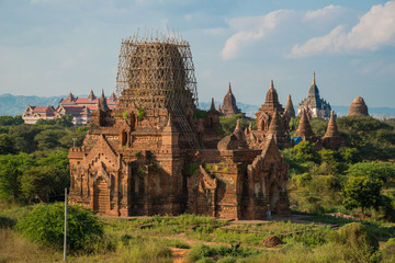 View of old pagoda in Bagan still repairing after Myanmar big earthquake in 2016.