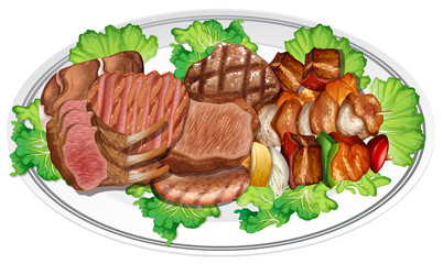 Plate of different meat