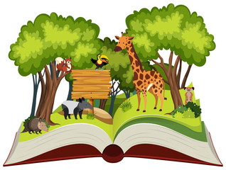 Wild animals open book