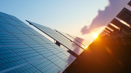 Sun Above the Solar Farm