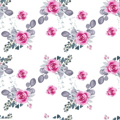 watercolor floral pattern/ Watercolor hand drawing, for background, texture, wrapper pattern, frame or border