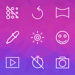 Image icons line style set with pipette, multimedia, rotate left and other effect  elements. Isolated vector illustration image icons.