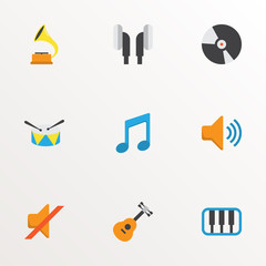 Music icons flat style set with ear muffs, compact disk, musical and other acoustic