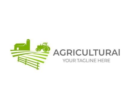 Agricultural, agriculture and farming with farm and tractor on field, logo design. Agribusiness, eco farm, barn with silo in rural country, vector design. Farm industries and agronomy, illustration