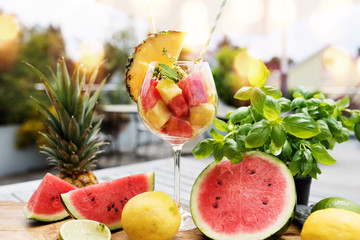 Fruits cocktail in summer