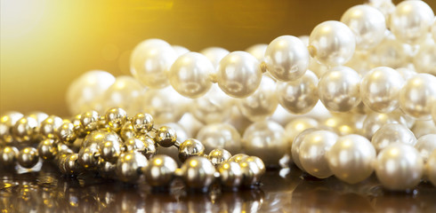 White and golden vintage necklace jewelry pearls - web banner idea
