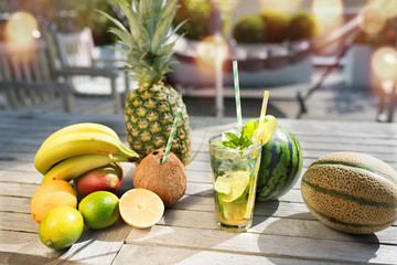 Fresh fruits with summer drink
