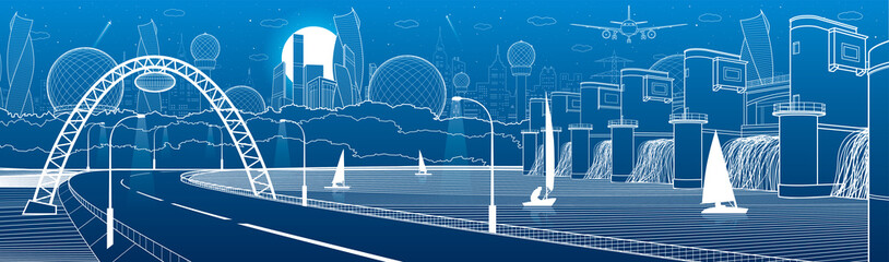 City infrastructure industrial and energy illustration panorama. Hydro power plant. River Dam. Automobile road. Illuminated highway. White lines on blue background. Vector design art