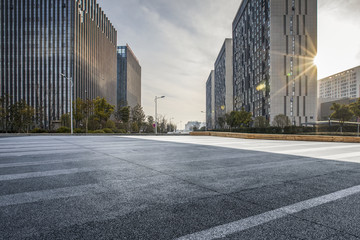 Panoramic skyline and modern business office buildings with empty road,empty concrete square floor Wall mural