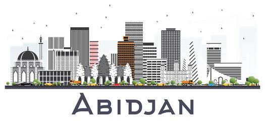 Abidjan Ivory Coast City Skyline with Gray Buildings Isolated on White.