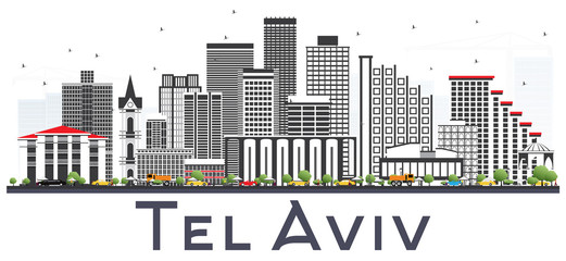 Tel Aviv Israel City Skyline with Gray Buildings Isolated on White.