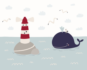 Poster Illustrations Hand drawn vector illustration of a cute funny whale swimming in the sea, lighthouse, seagulls, clouds. Scandinavian style flat design. Concept for kids, nursery print.
