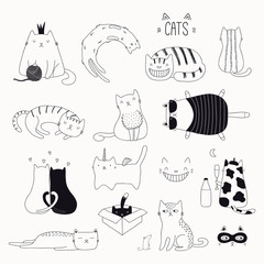 Set of cute funny black and white doodles of different cats. Isolated objects. Hand drawn vector illustration. Line drawing. Design concept for poster, t-shirt, fashion print.