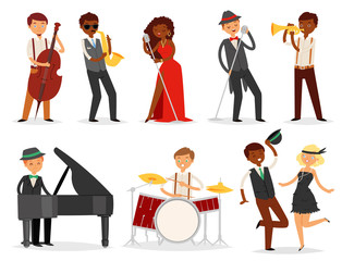 Jazz vector musician character playing on musical instruments saxophone drums and piano illustration music set of singer dancer saxophonist and drummer isolated on white background