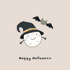Hand drawn vector illustration of a kawaii funny moon in a witch hat, bat, with text Happy Halloween. Isolated objects. Line drawing. Design concept for print, card, party invitation.