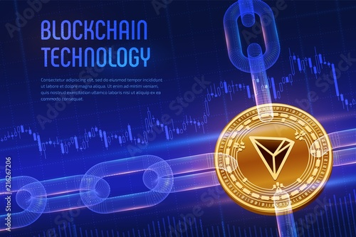 Tron  Crypto currency  Block chain  3D isometric Physical