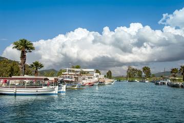 Mugla, Turkey, 24 May 2012: Boats at Azmak Stream, Gokova Bay, Akyaka