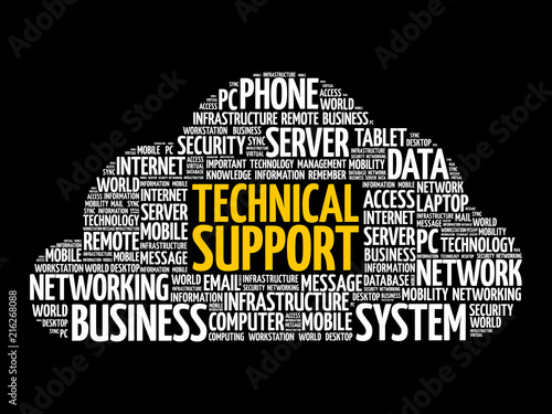 Technical support word cloud collage, technology concept