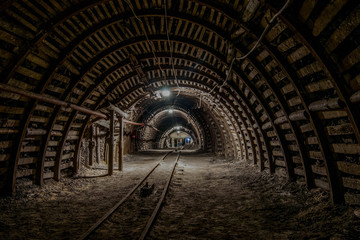 Tunnel in the mine, track, darkness