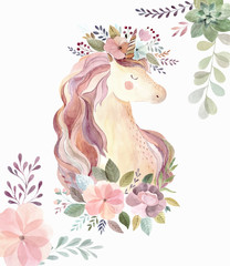 Vintage illustration with cute unicorn and flowers