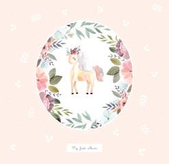 Little unicorn witn flowers