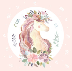 Vintage illustration with cute unicorn on pink background