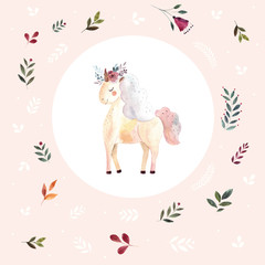 Iillustration with little watercolor unicorn and floral elements