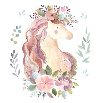 Vintage illustration with cute unicorn and floral wreath