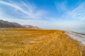 Salty coast of the Dead Sea.